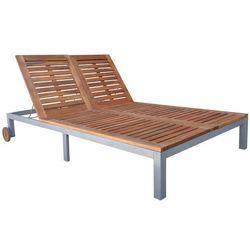 Vidaxl  leżak z drewna akacjowego 207x130x(31-88), kategoria: leżaki ogrodowe