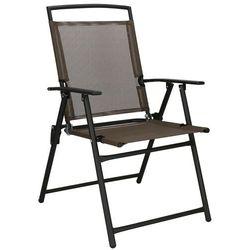 Krzesło ogrodowe z oparciem na balkon, tarasowe brązowo-czarne marki Springos