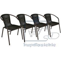 Komplet 4 x krzesła ogrodowe Garth rattanowe - czarne z brązową strukturą (4025379981800)