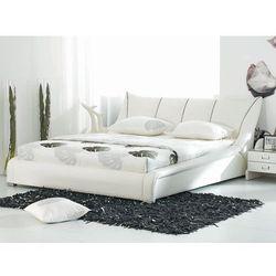 Nowoczesne skórzane łóżko 160x200 cm - ze stelażem - NANTES - sprawdź w Beliani