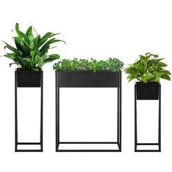 Stojak na kwiaty 3 szt. z doniczką nowoczesny kwietnik loft 80, 60 cm czarny mat
