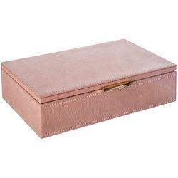 Atmosphera créateur d'intérieur Drewniane pudełko na biżuterię w kolorze różowym, organizer na biżuterię, pudełko na kosmetyki, kuferki na biżuterię, kasetka