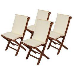 4 x poduszki na krzesła ogrodowe - Kremowe