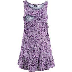 Bonprix Sukienka ciążowa i do karmienia, z dżerseju  jagodowo-biały z nadrukiem, kategoria: sukienki cią�