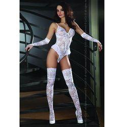 LEXINE Seksowne Body z pończochami i rękawiczkami, biel, kup u jednego z partnerów