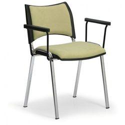 B2b partner Krzesła konferencyjne smart - chromowane nogi, z podłokietnikami, zielony