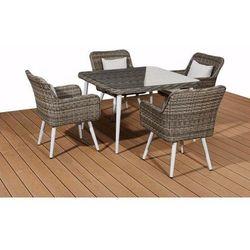 Zestaw mebli ogrodowych stół i krzesła norfolk z tehnorattanu szary melanż marki Bello giardino