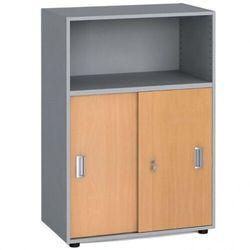 Szafa biurowa kombinowana, przesuwne drzwi, 1087x800x420 mm, buk marki B2b partner