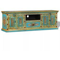 Vidaxl szafka pod telewizor, drewno mango, niebieska, ręcznie malowana