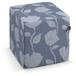 Dekoria  pufa kostka twarda, wzór roślinny na niebiesko-szarym tle, 40x40x40 cm, venice