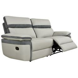 3-osobowa sofa mercutio typu relaks ze skóry ekologicznej i mikrofibry – kolor jasnoszary z antracytowymi wykończeniami marki Vente-unique.pl