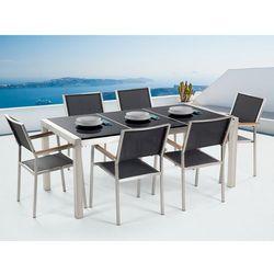 Stół granitowy czarny polerowany 180 cm z 6 czarnymi krzesłami - GROSSETO (7081453423427)