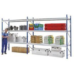 Regał o dużych półkach do dużych obciążeń,z modułami nakładek z kraty drucianej