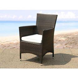 Beliani Polirattanowe krzesło z poduchą ogród taras weranda - italy, kategoria: krzesła ogrodowe