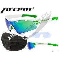610-40-623_ACC Okulary ACCENT Stingray białe, soczewki: szare z czarno-zielonym lustrem, przezroczyste