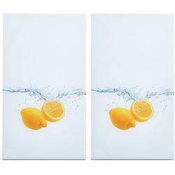 Zeller Szklane płyty ochronne lemon splash na kuchenkę – 2 sztuki,