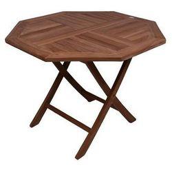 Składany stół DIVERO z drewna tekowego Ø 100 cm