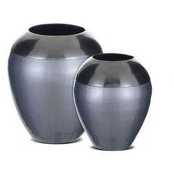 Vente-unique Zestaw 2 wazonów z aluminium sioban - wys. 24 i 28 cm - szary i antracyt