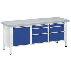 Stół warsztatowy, stabilny, 1 drzwi 540 mm, 6 szuflady, okładzina z blachy stalo