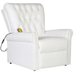 vidaXL Elektryczny fotel masujący z eko-skóry, regulowany, biały