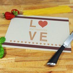 Love - deska do krojenia - deska średnia 25 na 20 cm marki Mygiftdna