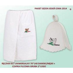 Produkcja własna Pakiet logo - kilt ręcznik 70*140cm 100% bawełna + czapka biała do sauny gruba g