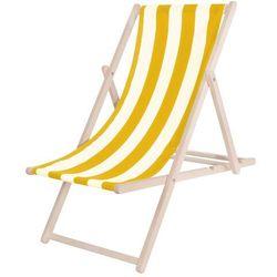 Leżak drewniany lakierowany żółte pasy