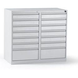 Szafka szufladowa, stal, wys. x szer. x głęb. 900x1000x500 mm, 14 szuflad, kolor marki Quipo
