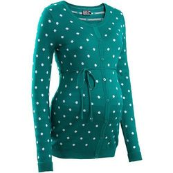 Sweter ciążowy rozpinany w kropki  ciemnoszmaragdowy w kropki, marki Bonprix