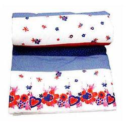 KÄTHE KRUSE Kocyk patchwork kolor czerwono-biało-niebieski