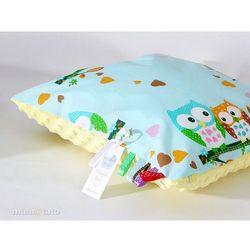 Mamo-tato poduszka minky dwustronna 30x40 sówki miętowe d / żółty