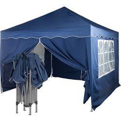 Ekspresowy niebieski pawilon namiot ogrodowy 3x3m + 4 ścianki - niebieski (odcień granatowy) marki Instent ®