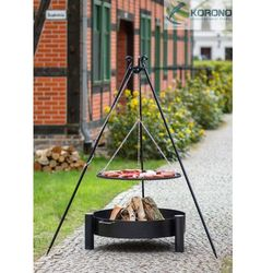 Grill na trójnogu z rusztem ze stali czarnej + palenisko ogrodowe 60 cm / 70 cm