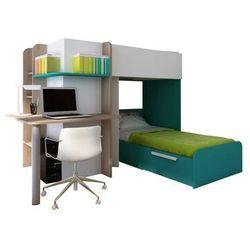 Łóżko piętrowe SAMUEL – 2 × 90 × 190 cm – wbudowane biurko – kolor sosna biała i turkusowy