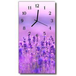 Zegar szklany pionowy kwiaty lawenda pole purpurowy marki Tulup.pl