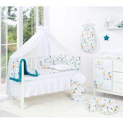 MAMO-TATO 4-el dwustronna pościel dla niemowląt LUX do łóżeczka 60x120 Miasto / pieguski czarne - moskitiera