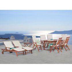 Stół rozkładany + 6 krzeseł + 2 leżanki + stolik + beżowe poduchy - TOSCANA (7081457401360)
