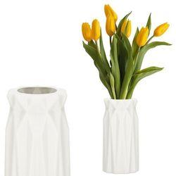 Wazon 18cm nietłukący na kwiaty do salonu, kuchni kremowy nowoczesny (5907719419084)