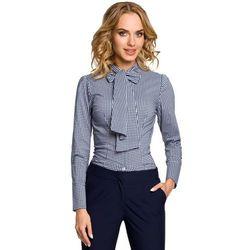 Koszula w Granatową Kratkę z Wiązaną Kokardą, kolor niebieski