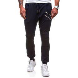 Granatowe spodnie dresowe baggy męskie Denley 0476 - GRANATOWY