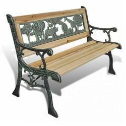 Drewniana ławka ogrodowa dla dzieci ponter - brązowa marki Elior