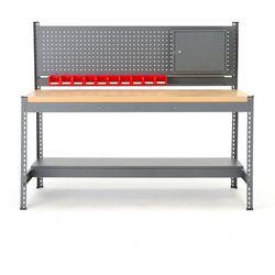 Stół warsztatowy COMBO, z panelem narzędziowym, 1530x1840x775 mm, dąb