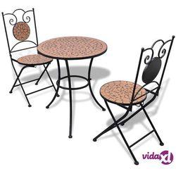vidaXL Stolik i 2 krzesła z terakotową mozaiką