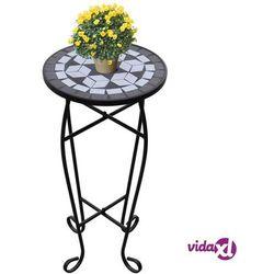 vidaXL Kwietnik, stolik z mozaikowym biało-czarnym blatem (8718475874546)