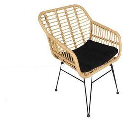 Vente-unique Fotel ogrodowy nosara z technorattanu - czarne siedzisko