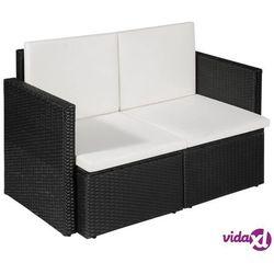 Vidaxl 2-osobowa sofa ogrodowa z poduszkami, polirattan, czarna