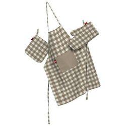 komplet kuchenny fartuch,rękawica i łapacz, beżowo biała kratka (1,5x1,5cm), kpl, quadro, marki Dekoria