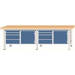 Stół warsztatowy, bardzo szeroki, 2 drzwi, 8 szuflad z częściowym wysunięciem, b