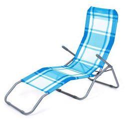 Happy Green Leżak plażowy składany, krata niebieski