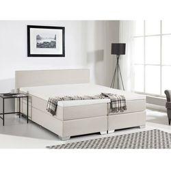 Łóżko kontynentalne 160x200 cm - łóżko tapicerowane - president beżowe od producenta Beliani